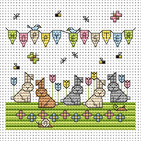 Tulip Bunnies card kit Cross Stitch Kit by Fat cat