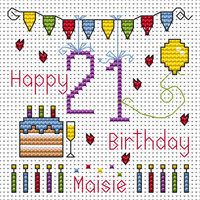 21ST Birthday card kit Cross Stitch Kit by Fat cat