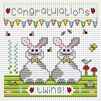 Twin Bunnies card kit Cross Stitch Kit by Fat cat