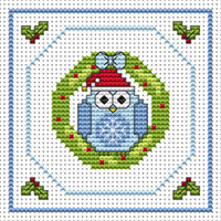 Twitt Wreath card kit Cross Stitch Kit by Fat Cat