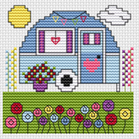 Vintage Caravan card kit Cross Stitch Kit by Fat Cat