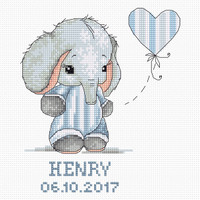 Baby Boy Elephant Cross Stitch Kit By Luca S