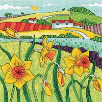 Daffodil Landscape Cross Stitch Kit By Heritage