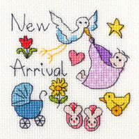 New Baby Card Cross Stitch Kit By Bothy Threads