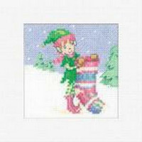 Elf with Stocking Cross Stitch Card Kit by Maria Diaz