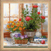 Crocuses on Windowsill Cross Stitch Kit By Riolis