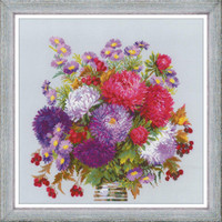 Bouquet with Asters Cross Stitch Kit By Riolis
