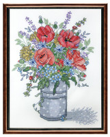 Poppies in a Vase Stamped Cross Stitch Kit Janlynn