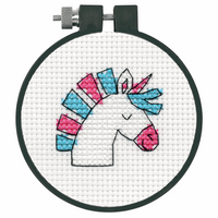 Counted Cross Stitch Kit with Hoop: Unicorn Fun By Dimensions