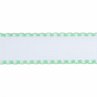 Aida Band: 16 Count: 1m x 50mm: White/Mint Green Edging