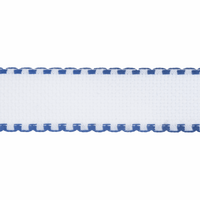Aida Band: 16 Count: 1m x 50mm: White/Royal Blue Edging