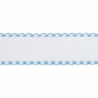 Aida Band: 16 Count: 1m x 50mm: White/Sky Blue Edging