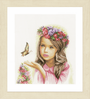 Angel with Butterflies (Linen) Cross Stitch Kit By Lanarte