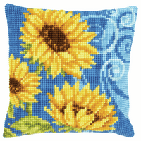 Chunky Cross Stitch Kit: Cushion: Sunflowers On Blue By Vervaco
