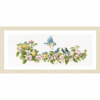 Counted Cross Stitch Kit: Blue Tits & Blossoms By Lanarte