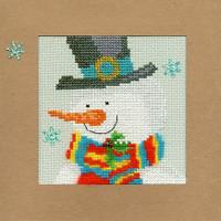 Christmas Card – Snowy Man Cross Stitch Card Kit