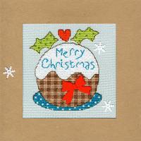 Christmas Card – Snowy Pud Cross Stitch Card Kit