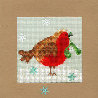 Christmas Card – Snowy Robin Cross Sttch Card Kit
