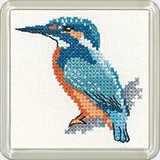 Kingfisher Coaster Cross Stitch kit By Heritage Crafts