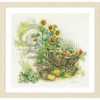 Counted Cross Stitch Kit: Wheelbarrow & Sunflowers By Lanarte