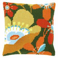 Cross Stitch Kit: Cushion: Retro Flowers