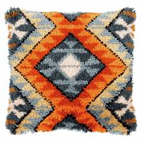 Latch Hook Kit: Cushion: Boho: Ethnic Print