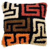 Latch Hook Kit: Cushion: Boho: Kuba Cloth