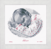 Counted Cross Stitch Kit: Birth Record: Sleeping Baby By Vervaco