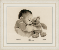 Counted Cross Stitch Kit: Birth Record: Baby & Bear by Vervaco