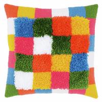 Latch Hook & Chain Stitch Kit: Cushion: Bright: Squares