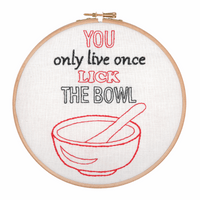 Embroidery Hoop Kit: Lick the Bowl By Anchor