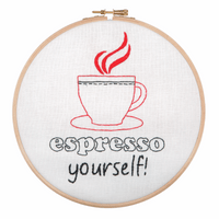 Embroidery Hoop Kit: Espresso Yourself! By Anchor
