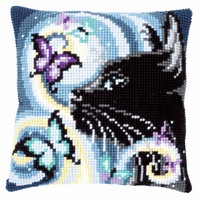 Cross Stitch Kit: Cushion: Cat With Butterflies by Vervaco