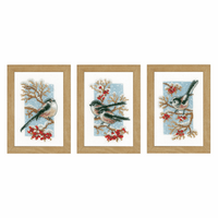 Counted Cross Stitch Kit: Long-Tailed Tits & Red Berries: Set of 3 by Vervaco