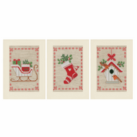 Counted Cross Stitch Kit: Greeting Cards: Christmas Motif: Set of 3 By Vervaco