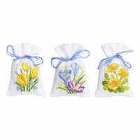 Counted Cross Stitch Kit: Pot-Pourri Bag: Spring Flowers: Set of 3 By Vervaco