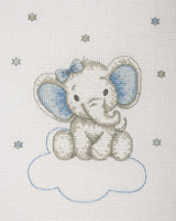 Counted Cross Stitch Kit: Baby Sets: Boy Elephant By Anchor