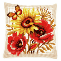 Cross Stitch Kit: Cushion: Poppies and Sunflowers