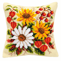 Cross Stitch Kit: Cushion: Mixed Flowers by Vervaco