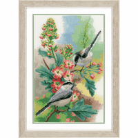 Counted Cross Stitch Kit: Chickadees & Blossoms By Vervaco