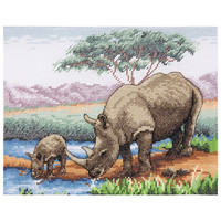 Counted Cross Stitch Kit: Essentials: Rhinos By Anchor