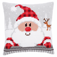 Cross Stitch Kit: Cushion: Santa in a Plaid Hat