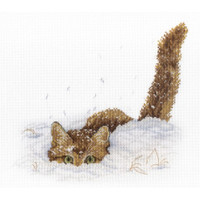 Cat in the snow Cross Stitch Kit by MP Studia