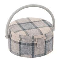 Check Round Sewing Box Hobby Gift