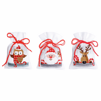 Counted Cross Stitch Kit: Pot-Pourri Bag: Christmas Buddies: Set of 3 By Vervaco