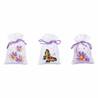 Counted Cross Stitch: Pot-Pourri Bags: Purple Astors: (Set of 3) By Vervaco