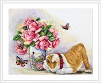 Bulldog and Butterflies Cross Stitch Kit By Merejka