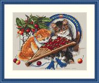 Kittens & Cherries Cross Stitch By Merejka