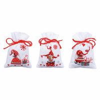 Counted Cross Stitch Kit: Pot-Pourri Bags: Christmas Gnomes: Set of 3 By Vervaco