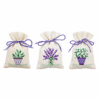 Counted Cross Stitch Kit: Pot-Pourri Bags: Provence: Set of 3 By Vervaco